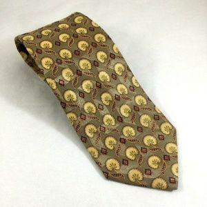 Ermenegildo Zegna Yellow Gold Floral Tie 100% Silk
